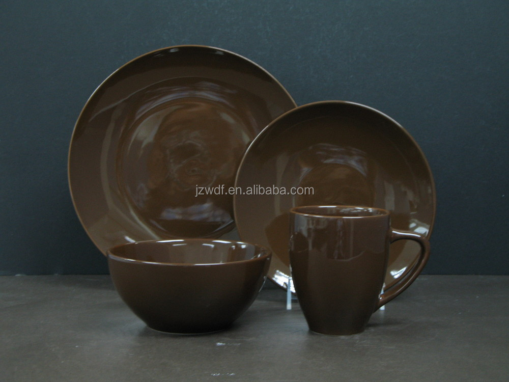 16pcs coffee brown color ceramic dinnerware set, factory directly whole sale stoneware dinnerware