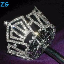 Fashion crystal pageant scepter, fairy wand children, full round tiara crown pageant scepter for queen