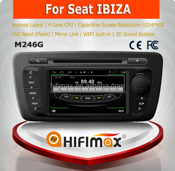 HIFIMAX Android 4.4.4 6.2'' car radio dvd player for seat ibiza 2009-2013 with bulit-in wifi & mirror link function