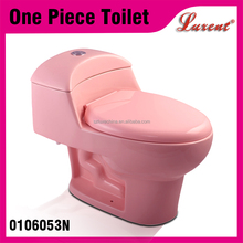Cheap Porcelain Bathroom Toilet Commode One Piece WC Toilet Pink Color