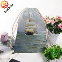 Wholesale fashion sublimated custom made drawstring shopping bag