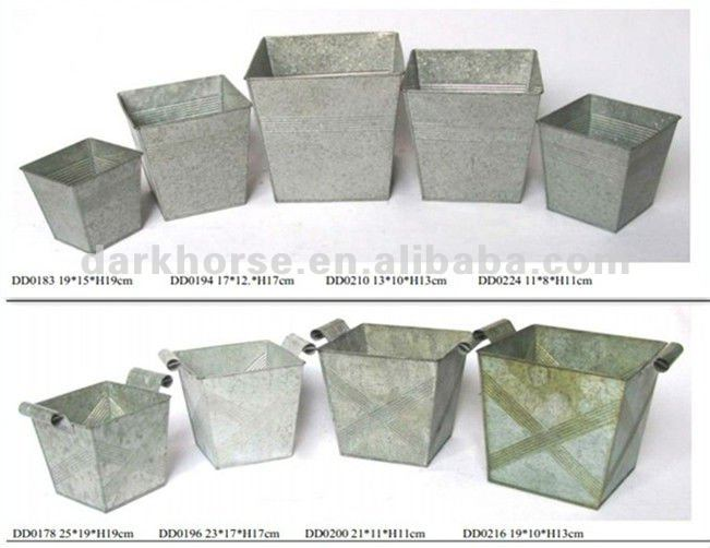 Square Antique Tin Flower Pots