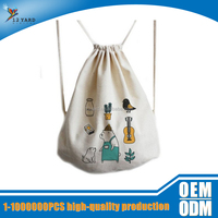 wholesale sport promotion canvas fabric drawstring bag backpack