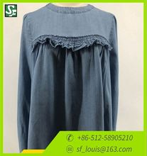High quality long sleeve fashional shirt Girl's denim long sleeve shirt Lady cowboyshirt