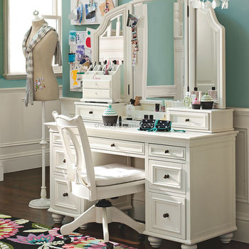F40053A-1 European style designs dressing table pine furniture white dresser for bedroom