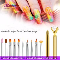 Fashionable Household Manicure Easy Carry Beauty Salon Equipment Makeup Brush Sets 3D Gel Polish Nail Painting Brush With Rhines