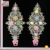 rhinestone pearl beads 3D flower stitch mesh pattern lace applique