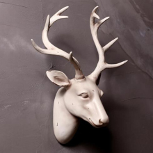 Resin Decorations White Deer Head Resin Wall Art Sculpture Antlers Wall Mount