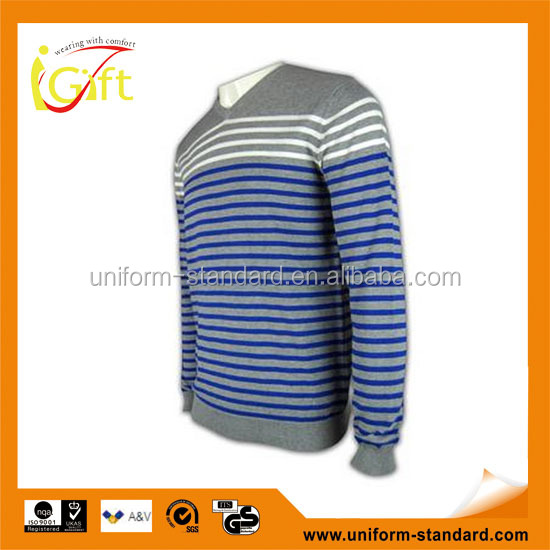 ISO9001/BSCI Manufature blue v-neck striped design wool sweater