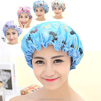 2016 new fashion adult satin and eva waterproof shower cap for christmas custom design with printing