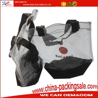 2017 New printing proffesional design PVC Plastic ice bag for wine promotion with handles
