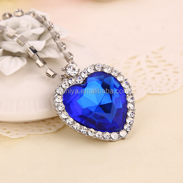 Yiwu High quality Fashion Crystal diamond Necklace,Heart Of Ocean Necklace,pendant necklace jewelry