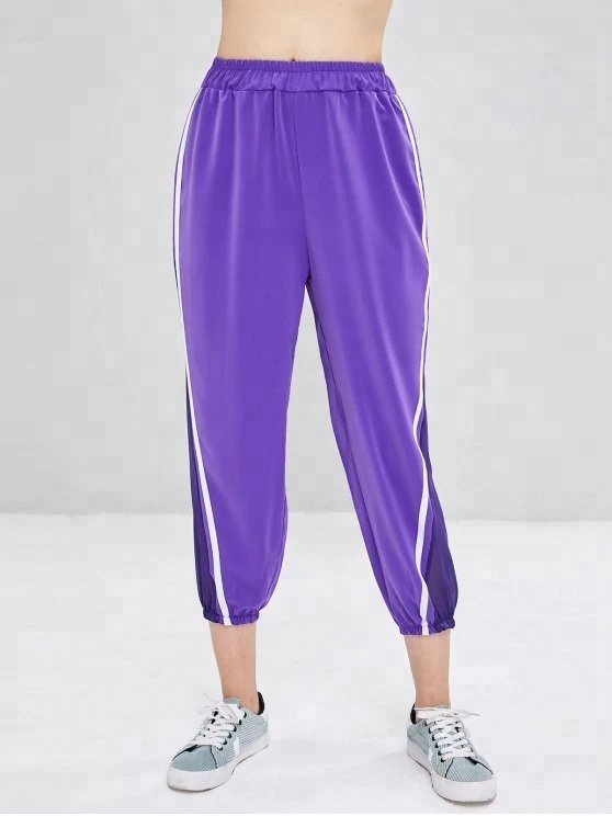 KY women Contrasting drawstring waist Two patched pockets Velvet tapered joggers Pants