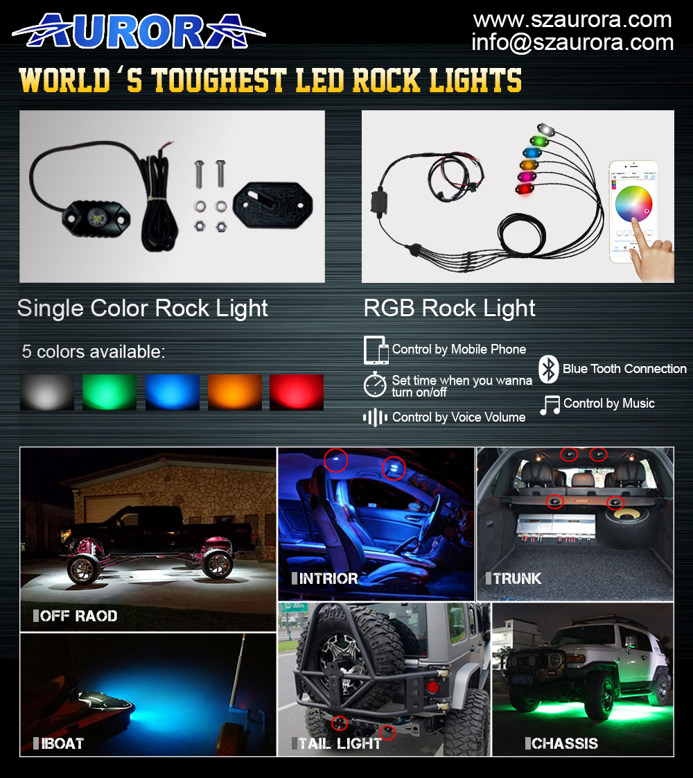 Toughest Wireless Remote Control Bluetooth RGB LED Rock Lights