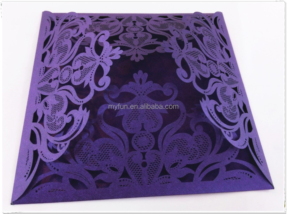 Luxury square laser cut high quality nice design wedding invitation gift paper card