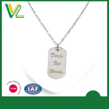 OEM Design Latest design Die casting Imitation Rhodium Custom Name Tag Jewelry Chain Pendant Necklaces for teenagers