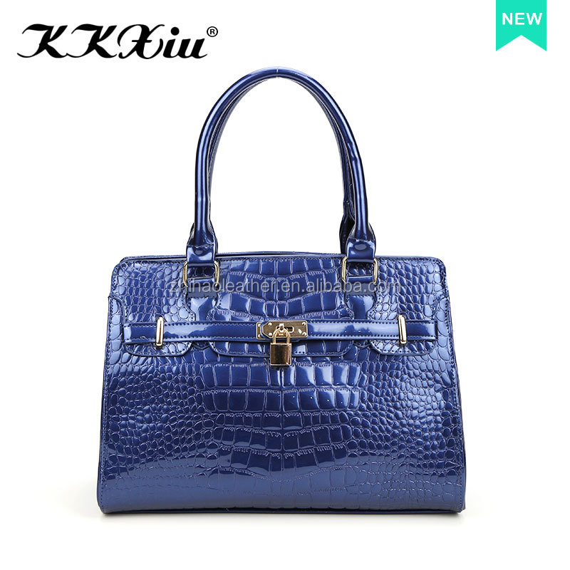 Low MOQ factory wholesale price free shipping blue ladies fashion bag with shinning leather