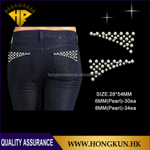 pocket Design use Pearl hot fix Through rhinestone transfer motif Application on the Jeans