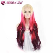 24 Inch Long Natural Wavy Ombre Light Brown Pink To Burgundy Three Tone Color Heat Resistant Synthetic Lace Front Wig for Party