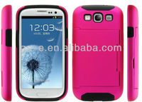 hard pc silicon hybrid card holder case for samsung galaxy s3 s4 waterproof case