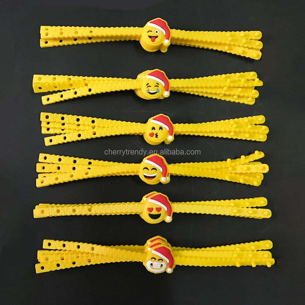 Emoji Rubber Bracelets Wristbands Christmas Party Favors