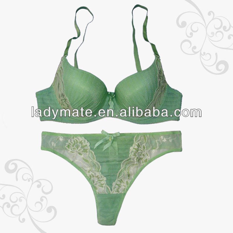 Low Price High Quality Green Eco-Friendly Sexy Fancy Bra Panty Set