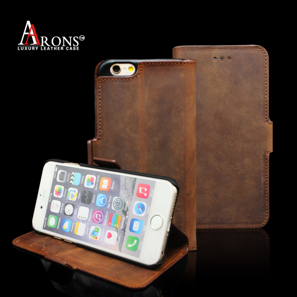 Wallet opening genuine leather phone case for iphone 6