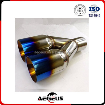 "1XPolished Stainless Steel 2.5""X 3.5""Exhaust Duo layer Straight Tip Blue Burnt"