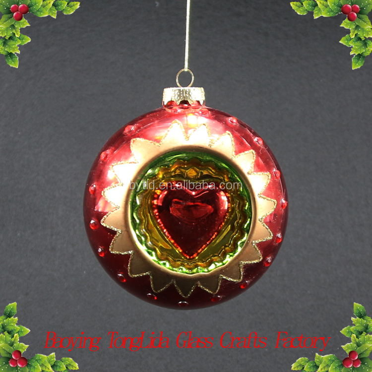 Red personalized glass christmas ball with heart ornament