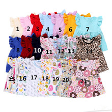 colorful New Style Baby Girl ruffle sleeve raglan shirt wholesale icing ruffle shirt
