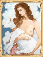 GX7423 nude women and animal diy oil panitng by numbers for home decor