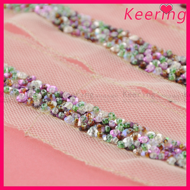 beaded sequins decorative lace trim of Keering WTP-1193