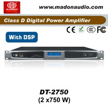 DT-2750 audio digital amplifier with Digital Signal Processing . 2Channel output 2x750W digital audio amplifier with DSP
