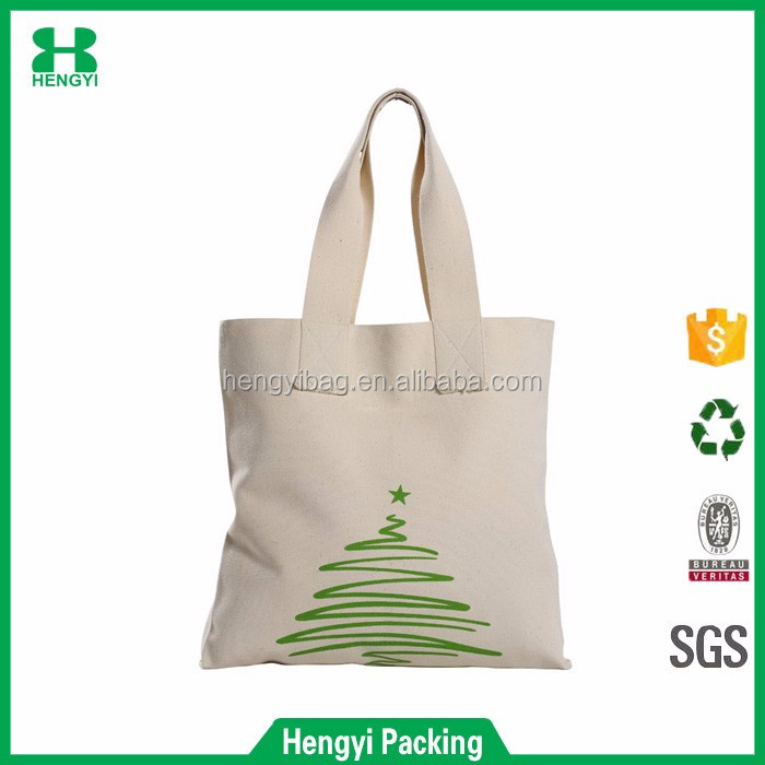 China manufacturer custom cotton canvas tote bag for christmas, durable and eco-friendly