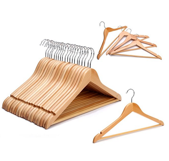 Strong Natural Wood Wooden Coat Hangers with Round Trouser Bar and Shoulder Notches