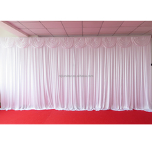 White 3m*6m Shine Ice Knit Backdrop Curtain With Swag 1pcs With Free Shipping