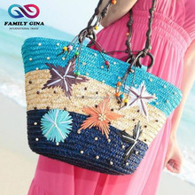 Wholesale New Designs Embroidery Cane Grass Beach Starfish Handbag