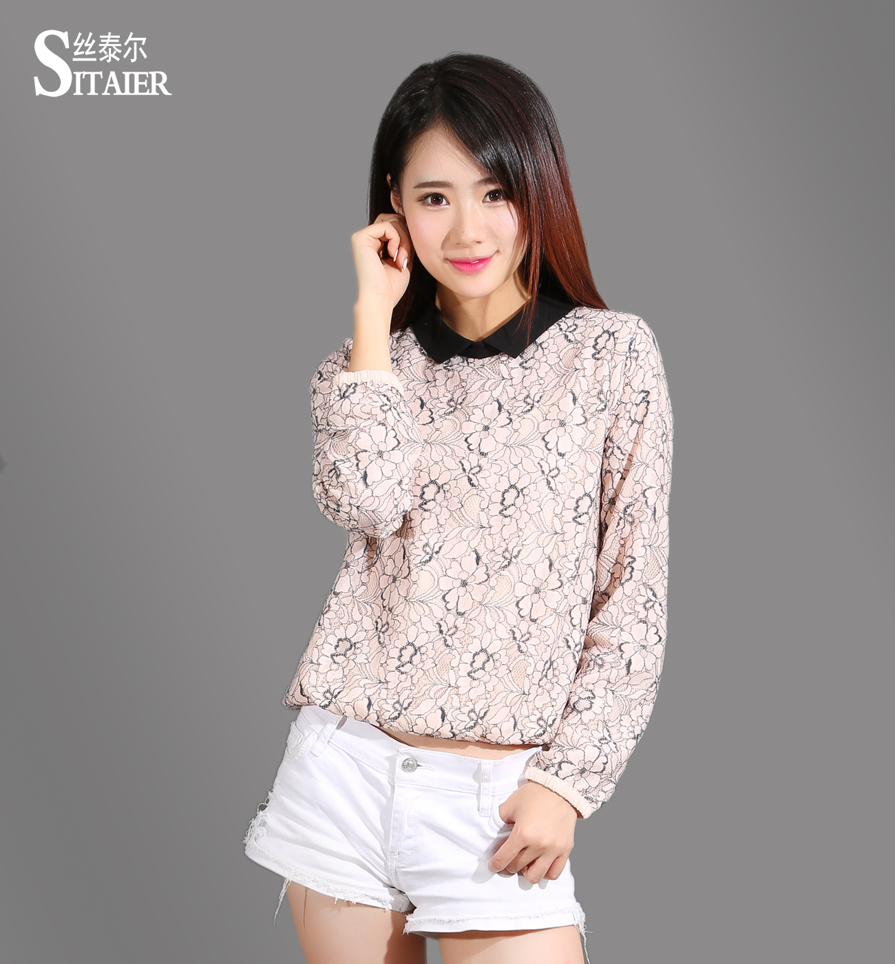 New design lady blouse top manufactured in China