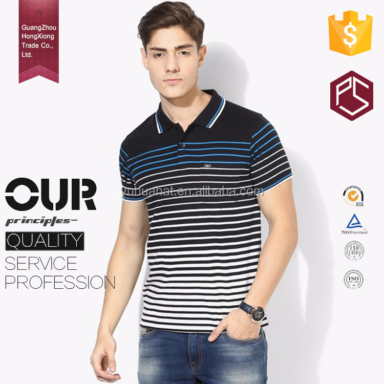 HongXiong prefessional OEM short sleeve polo neck men stripes 100% polyester po-los hombre