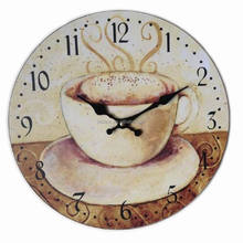 Home Decoration Large Vintage Retro Round Wall Clock Coffee cup 34cm