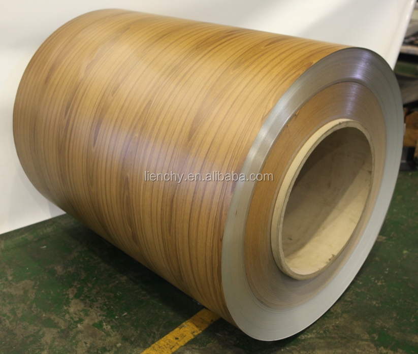 Dark Teak Wooden Film PVC Laminated Vinyl Coating Metal Coil steel