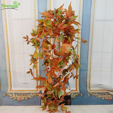 Factory Direct Plastic Artificial Maple Leaves vine Garland for Fall Decor