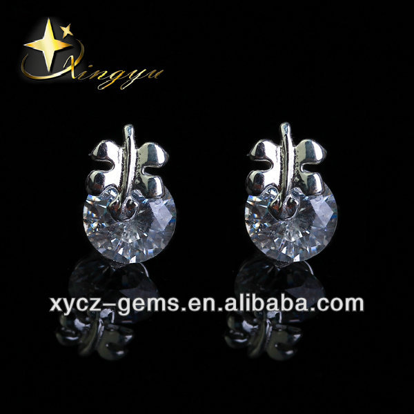 Fashion 2016 Hot Sale 925 Silver Plated Brass Alloy CZ Crystal Stud Earrings
