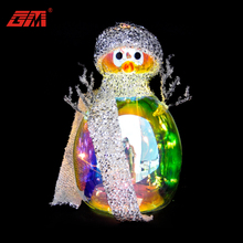 LED shinny Mini glass snowman craft with scarf for Christmas or other holiday