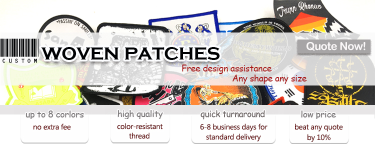 High quality bulk cheap embroidered custom woven patch