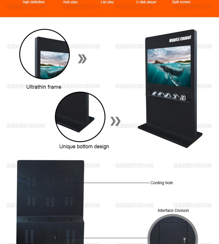 65 inch restaurant cell phone charging station digital signage lcd kiosk