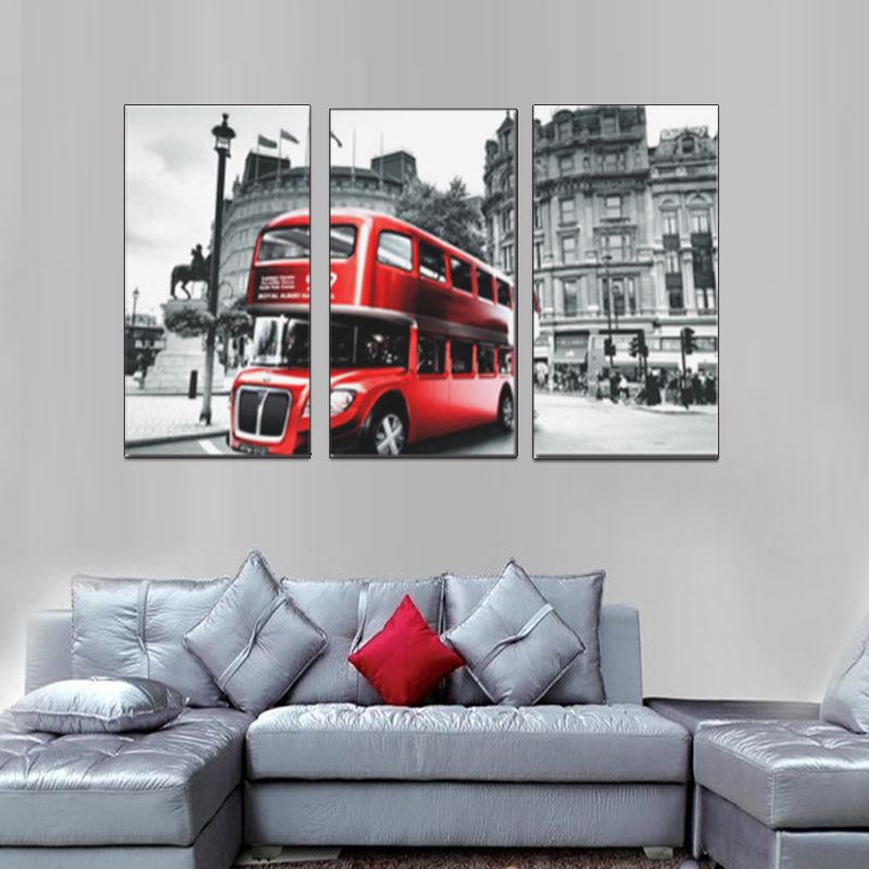 Modular <strong>pictures</strong> 3 Piece Retro Style London Red Bus Canvas Print Canvas Painting Home Decor Wall Art <strong>Picture</strong> for Living Room