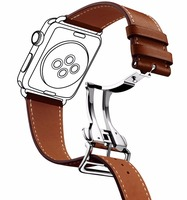 Deployment Clasp Leather Band for Apple Watch Strap For iWatch Belt