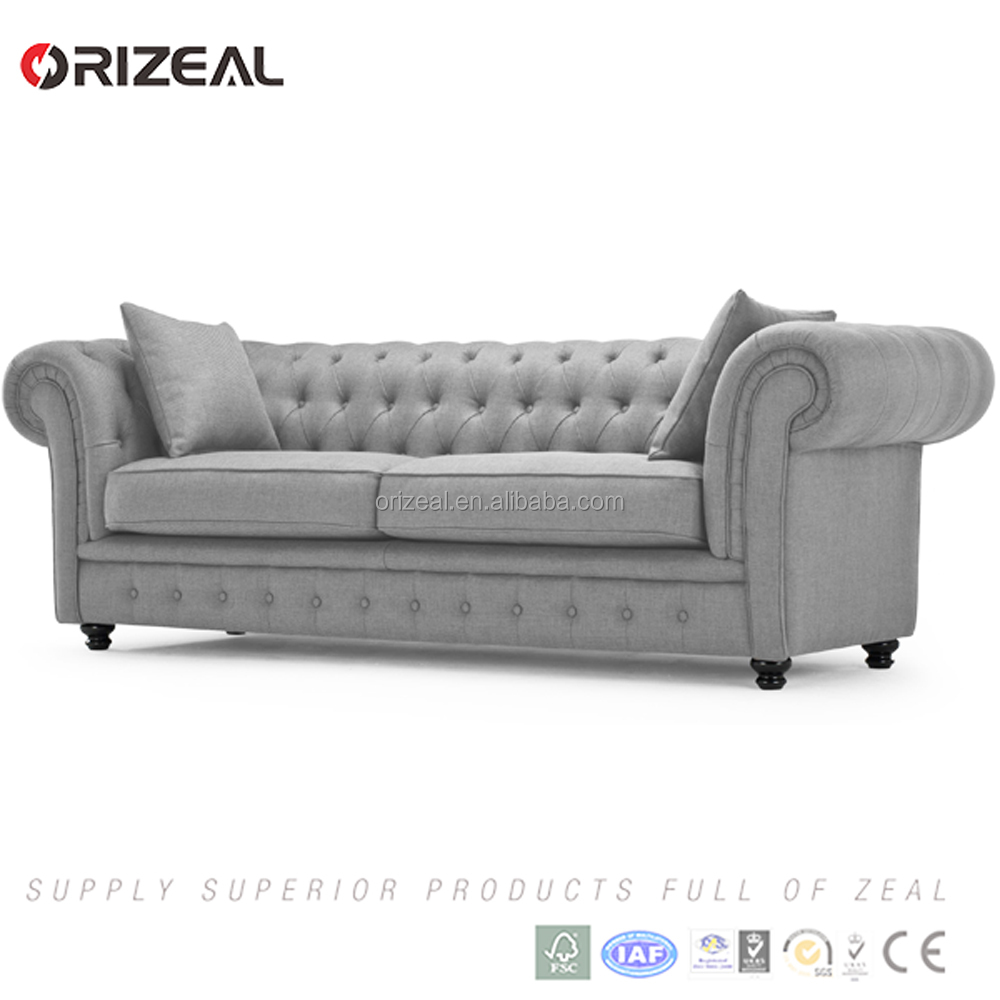 Branagh 2 Seater Chesterfield Sofa in pearl grey on traditional Chesterfield design