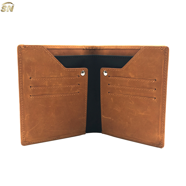 Cowhide leather new design customs mens gift leather wallet